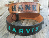 Personalized Ranger Belt Style Heavy Duty Leather Dog Collar for Sensitive Skin, Dog Collars - Behind The Wire Shop