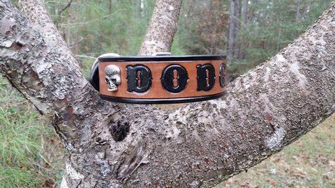 Personalized Brown & Black Leather Dog Collar with Sugar Skull, Dog Collars - Behind The Wire Shop