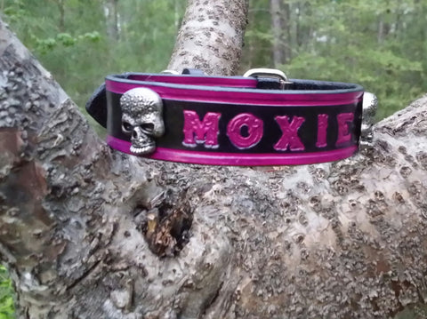 Pink & Black Personalized Leather Dog Collar with Sugar Skulls