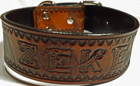 The Zebra - Personalized Heavy Duty Leather Dog Collars, Dog Collars - Behind The Wire Shop