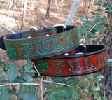 The Tully - Custom Leather Dog Collar with 3 Leaf Clover - Irish Theme, Dog Collars - Behind The Wire Shop