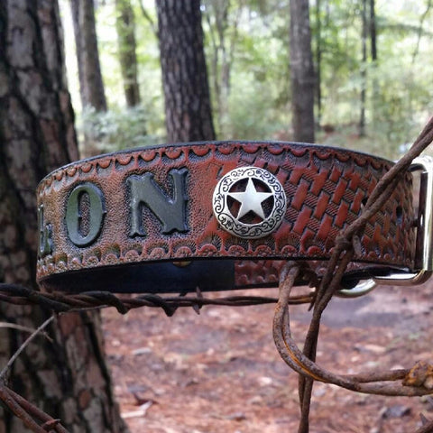 "BUILD YOUR OWN - Personalized 1 1/2 "" Texas Ranger Star Camo Basketweave Leather Dog Collar"