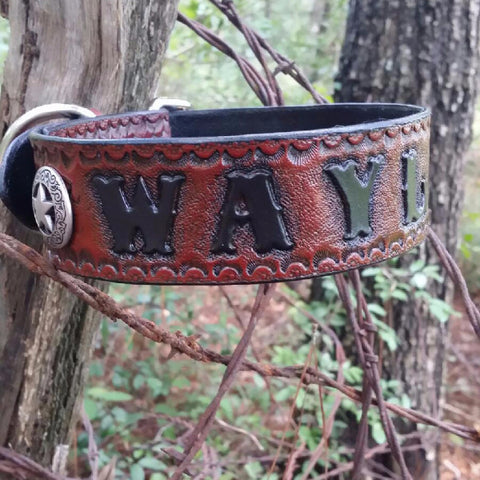 The Waylon - Personalized Texas Ranger Star Camo Basketweave Leather Dog Collar