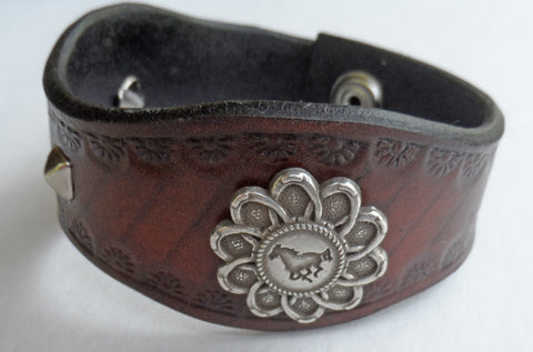 Custom Western Leather Bracelet with Cow Girl Horse Concho