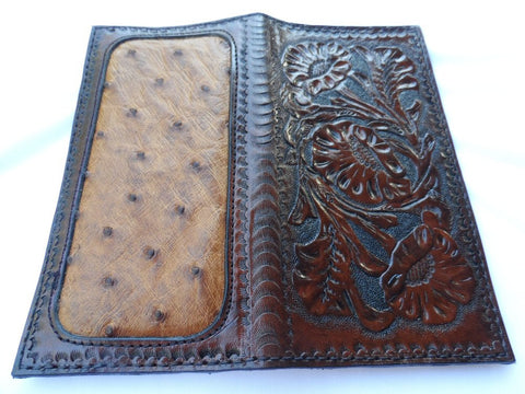 Sheridan Style Roper Wallet with Ostrich Skin Inlay, Special projects - Behind The Wire Shop