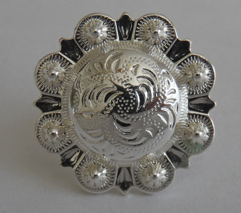 "5180-CC 3/4""  Western Berry Style Concho Sterling Silver Plate Decorative Metal Piece, Decorative Metal Pieces - Behind The Wire Shop"