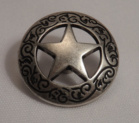 "5620-RC 1""  Antique Nickel Large Texas Ranger Stars Decorative Rivet Concho, Conchos - Behind The Wire Shop"