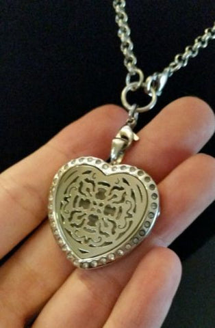 Heart Celtic Cross Rhinestone Essential Oil Diffusing Locket