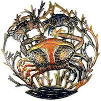 24-Inch Painted Crabs Metal Wall Art Handmade and Fair Trade