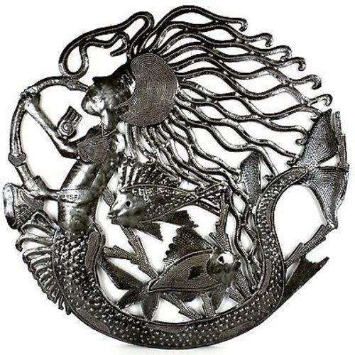 24-Inch Musical Mermaid Metal Wall Art Handmade and Fair Trade