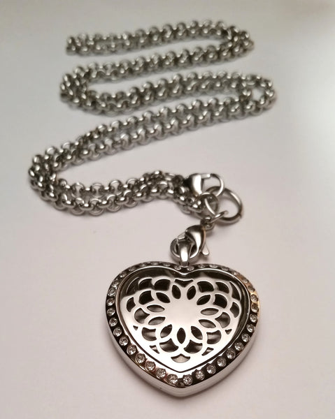 Heart Lotus Rhinestone Essential Oil Diffusing Locket