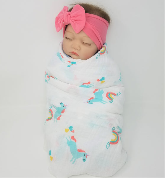 100% Organic Muslin &  Hairbow Swaddle Gift Set Girl Unicorns Flamingos Aloha
