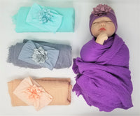 Softest Muslin  & Hairbow Swaddle Set Gift Set  Baby Girl Peach Purple Gray Aqua