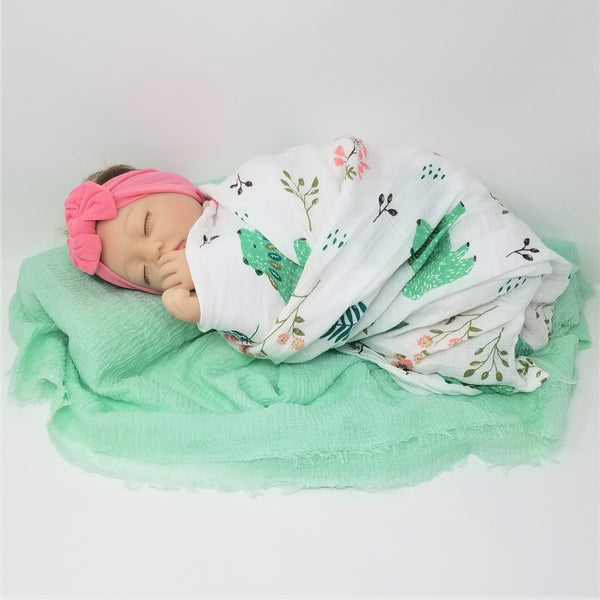 100% Cotton Swaddle + Wrap + Hairbow Swaddle 3 pc  Gift Set  Bears Aqua Pineapples