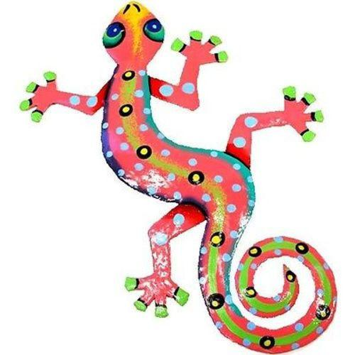 Eight Inch Pink Metal Gecko Handmade and Fair Trade