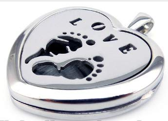 Blessings Baby Feet Love Heart Shaped Aromatherapy Pregnancy Diffusing Locket