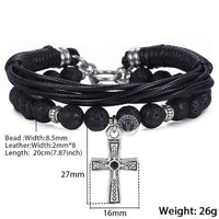 Men's Natural Lava Stone Leather Stainless Steel Cross Multilayer Bracelet