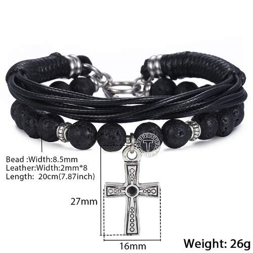 Blessings By The Drop Men's Multi Strand Leather Lava and Stainless Steel Cross Bracelet