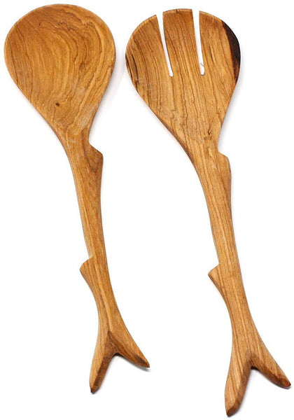Global Crafts Hand Carved Kenyan Salad Serving Set