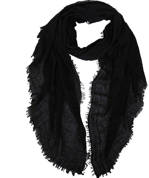 LMVERNA Women Wrinkle Scarf Crinkle Muslim Hijab Scarves Solid Color Long Wrap Scarf
