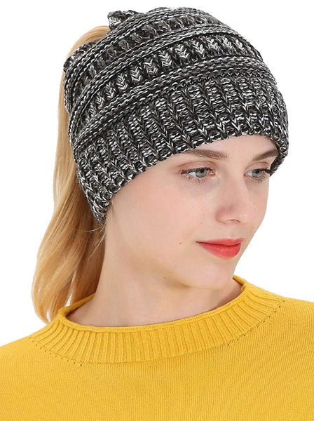 LOKIDVE Women's Winter Ribbed Knit Hat Ponytail Beanie Messy High Bun Cap