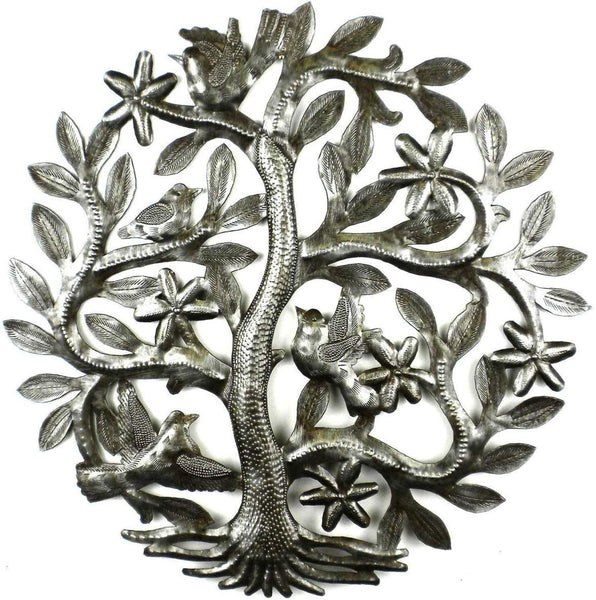 Croix des Bouquets 14 inch Tree of Life with Birds Wall Art