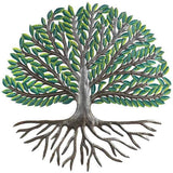 "Croix des Bouquets 24"" Tree of Life Wall Art with Green Painted Leaves"