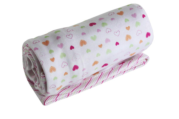 Organic Cotton Receiving Blanket Double Layer Heart and Pink Stripes