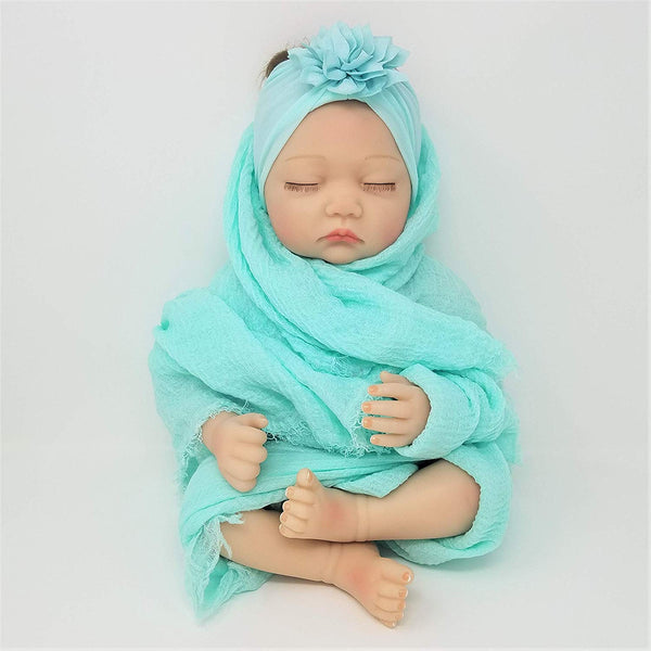 100% Cotton Softest Muslin Wrap & Soft Nylon Hairbow Swaddle Set Photo Prop Gift Set Newborn Baby Girl Peach Purple Gray Aqua