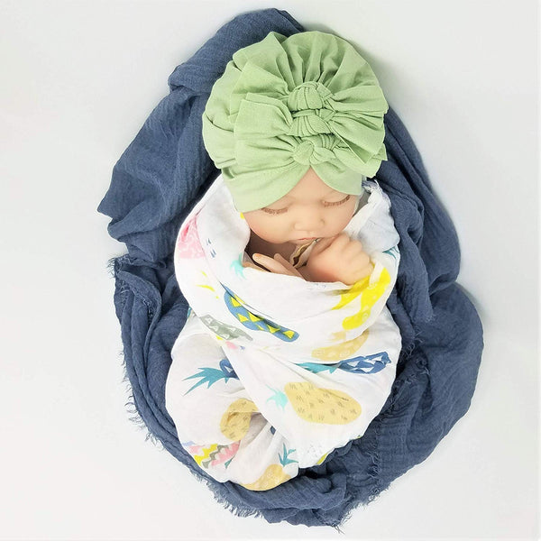 100% Cotton Double Layer Blanket & Muslin Wrap & Soft Nylon Hairbow Swaddle 3 pc Set Photo Prop Gift Set Newborn Baby Girl