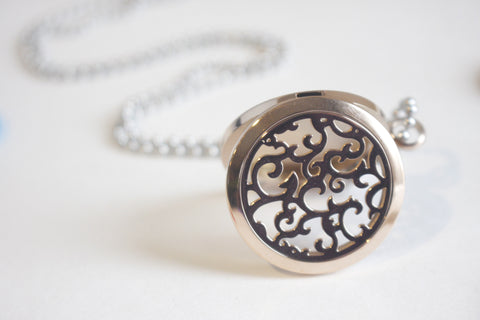 Swirl Filigree Rose Gold Essential Oil Diffusing Locket