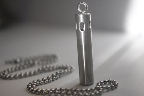 Brushed Steel Vial Essential Oil Diffusing Pendant