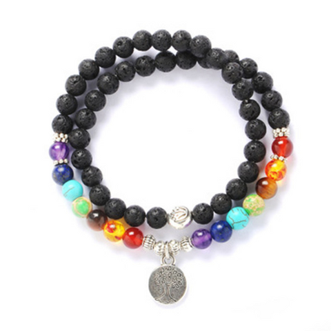 Tree of Life Lava Chakra Beaded Bracelet Necklace
