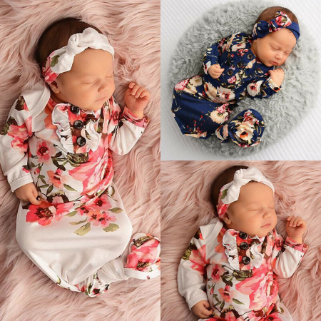Blessings Ruffle Flowered Headband Layette Set Infant Baby Photo Prop Gift (Cream, 3-9 Month)…
