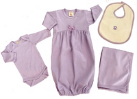Ecobaby Organics Organic Cotton Baby Gown, Blanket, Long Sleeve Bodysuit and Bib Layette Set