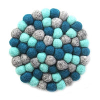 Hand Crafted Felt Ball Trivets from Nepal: Round Chakra, Light Blues - Global Groove (T)