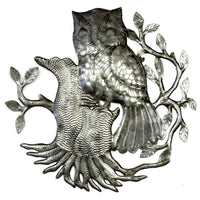 Owl on Perch Metal Wall Art - Croix des Bouquets