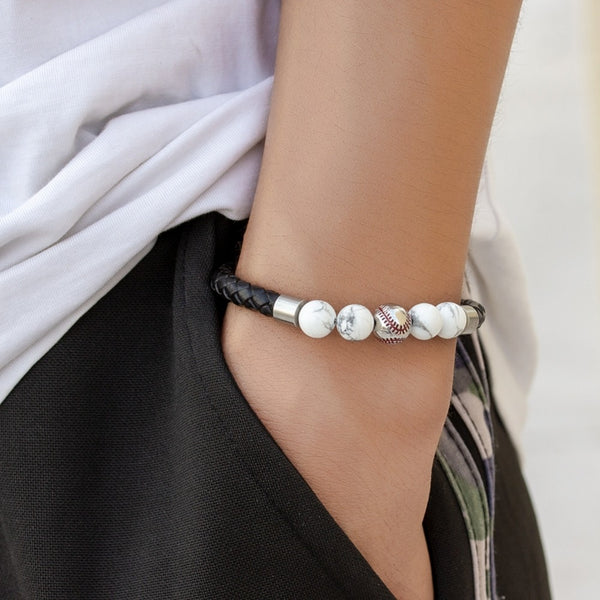 Stainless Steel Magnetic Clasp Baseball Bead Men's White Stone Bracelet Braided Leather Bracelet