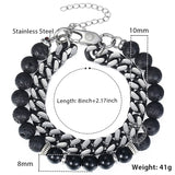 Men's Lava Stainless Steel Link Bracelet
