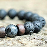 Natural Lava and Wood Stone Strand Bracelet
