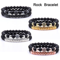 2pcs/Set Unisex Natural Stone Lava Rock Bracelets Couples Jewelry