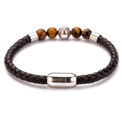 Stainless Steel Magnetic Clasp Baseball Bead Men's Tigers Eye Bracelet Braided Leather Bracelet