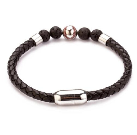 Stainless Steel Magnetic Clasp Baseball Bead Men's Lava Braided Leather Bracelet