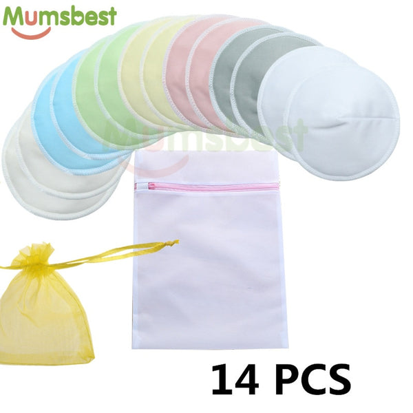 14 PCS Reusable Bamboo Breast Pads Organic Bamboo Washable Contoured Nursing Pads