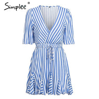 Simplee Vintage striped women dress V neck ruffle cotton short summer dress plus size Sexy casual lady female vestido festa 2019