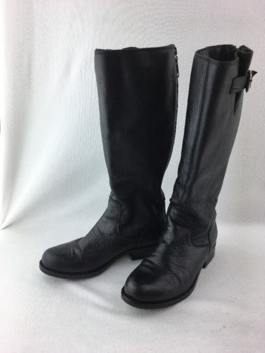 0c5d5a5c683 Steve Madden Trico Black Leather Zip Up Knee Boots