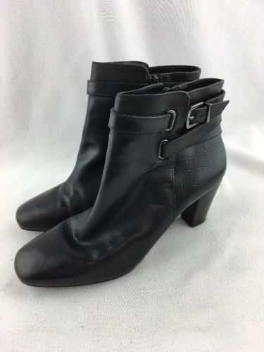 65adee45eff Alex Marie Ladies Zip Up Low Heel Ankle Boots Black Leather Size 7.5 RH9289