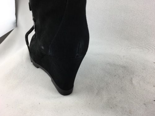 5746bedba1 ... Nine West Abrazzo Black Suede Lace Up Wedge Heel Ankle Boot, Size 10M  RH 7424 ...