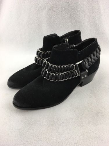 48109022e Sam Edelman Black Suede Low Heel With Chains Booties Size 6 RH 8766 ...
