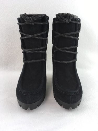 c3cf3a5d878 ... Nine West Abrazzo Ladies Wedge Booties Black Suede Size 10M RH7448  ...